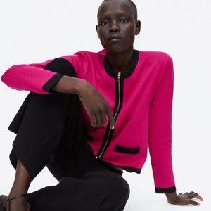 NWT Zara Size S Contrasting Knit Jacket Cardigan